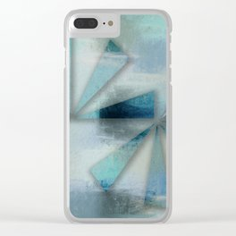 Triangles on Blue Grey Backdrop Clear iPhone Case