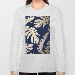 Simply Palm Leaves in White Gold Sands on Nautical Navy Long Sleeve T-shirt
