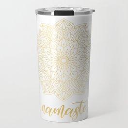 Namaste Gold Mandala Design Travel Mug
