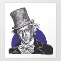 willy wonka Art Prints featuring Willy Wonka by Rachel Morgan Kitti