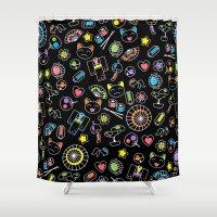 kawaii Shower Curtains featuring Kawaii Doodles by Natalia Linn