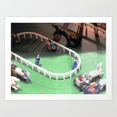 Excitement At The Horse Tracks! 3 Art Print