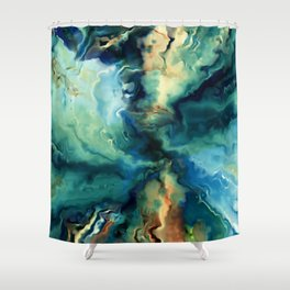 Marbled Ocean Abstract, Navy, Blue, Teal, Green Shower Curtain
