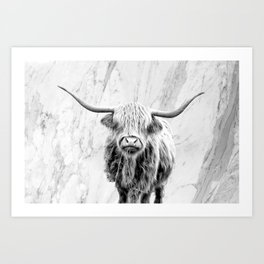 Highland Cow on Marble Black and White Art Print