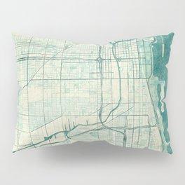 Chicago Map Blue Vintage Pillow Sham