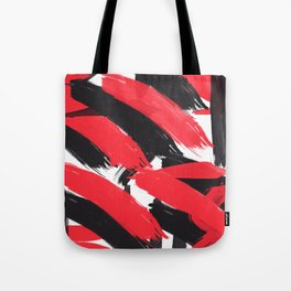 Modern Abstract Black Red Brush Strokes Pattern Tote Bag