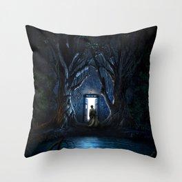 Tardis Nightmare Forest Throw Pillow