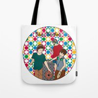 blues brothers Tote Bags featuring New Blues Brothers by Vasina Reginiano