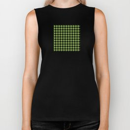 Houndstooth design in greenery and black Biker Tank
