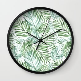 Watercolor palm leaves pattern Wall Clock