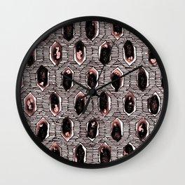 Watercolour Blackwork: 'Lozenge' Burnt Rose 2 (light) Wall Clock