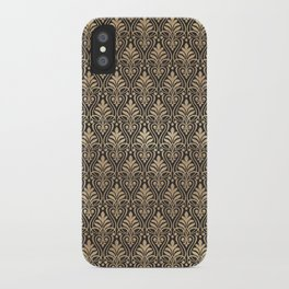 Chic Gold and Black Art Deco Leafy Damask iPhone Case