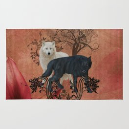 Awesome black and white wolf Rug