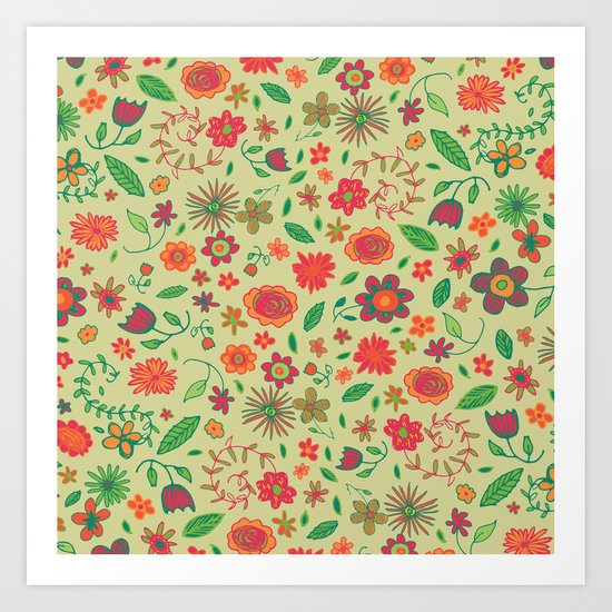 Spring Florals Yellow Art Print