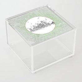 Philadelphia, Pennsylvania City Skyline Illustration Drawing Acrylic Box