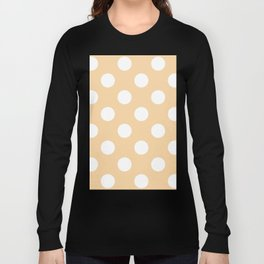 Large Polka Dots - White on Sunset Orange Long Sleeve T-shirt