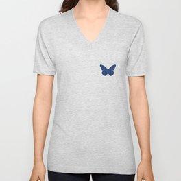 Navy Butterfly Pattern and Print Unisex V-Neck