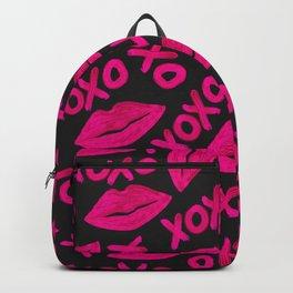XOXO Quote Black Neon Pink Lips Lipstick Pattern Backpack