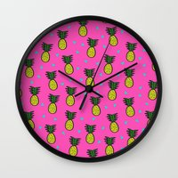 pineapples Wall Clocks featuring Pineapples by Sandra Arduini