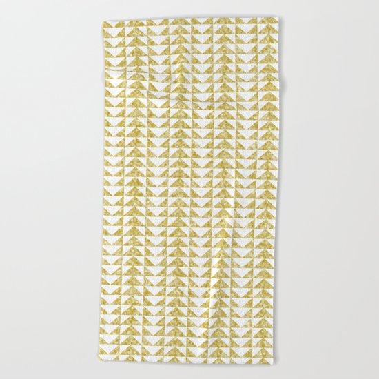Gold geometric pattern Beach Towel
