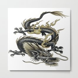 Lucky Chinese Dragon In Gray and Gold Metal Print
