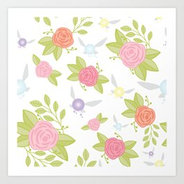 Garden of Fairies Pattern Art Print