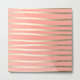 Simply Drawn Stripes in White Gold Sands and Salmon Pink Metal Print
