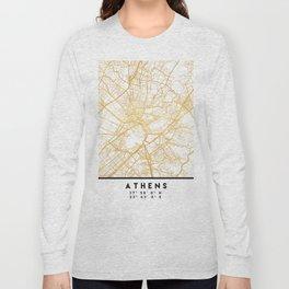 ATHENS GREECE CITY STREET MAP ART Long Sleeve T-shirt