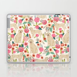 Golden retrievers must have florals cream pastel gender neutral dog art cute pet portraits labrador Laptop & iPad Skin