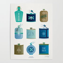Flask Collection – Blue and Tan Palette Poster