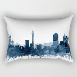 Auckland Skyline Navy Blue Watercolor by Zouzounio Art Rectangular Pillow