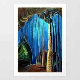 Big Sky Country, Forest Morning Blue portrait painting by Emily Carr Art Print