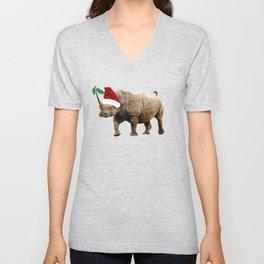 Christmas Rhino Santa Hat Unisex V-Neck
