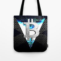 scotland Tote Bags featuring bitcoin scotland by seb mcnulty