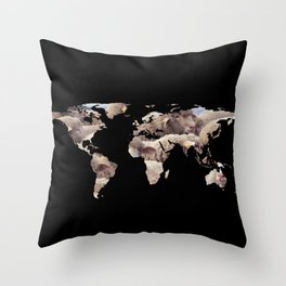 World Map Silhouette - Sheep Herd Throw Pillow