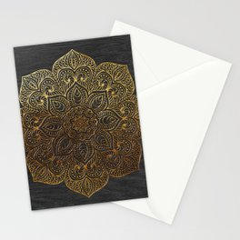 Wood Mandala - Gold Stationery Cards