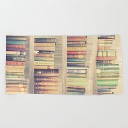 Dream with Books - Love of Reading Bookshelf Collage Beach Towel