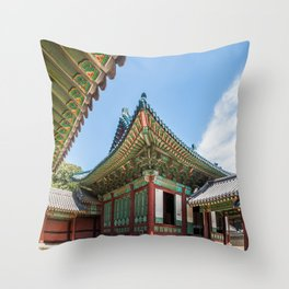 Blue Tile Roof, Changdeokgung Palace, Seoul Throw Pillow
