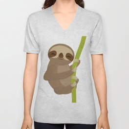 funny and cute smiling Three-toed sloth on green branch Unisex V-Neck