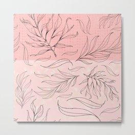pink and black leaves Metal Print