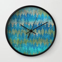 The secret forest - Abstract aqua turquoise Forest tree pattern Wall Clock