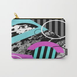Bits N Pieces III - Abstract, geomtric, random, textured, stripes, black, pink, cyan, artwork Carry-All Pouch