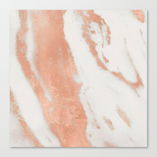 Marble Rose Gold Shimmer Light Canvas Print