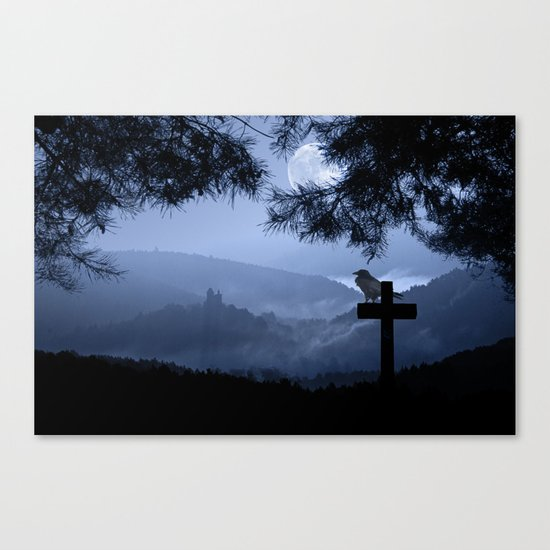 Castle in a foggy night Canvas Print