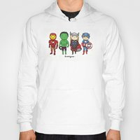 super heroes Hoodies featuring Super Cute Heroes: Avengers! by Kayla Dolby