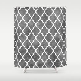 Classic Quatrefoil Lattice Pattern 915 Gray Shower Curtain