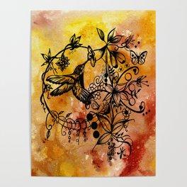 Acrylic Abstract Painting HUMMINGBIRD Poster