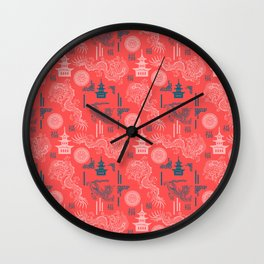 Coral Chinoiserie Wall Clock