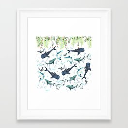 floral shark pattern Framed Art Print