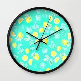Modern summer bright yellow green lemon fruits watercolor illustration pattern on mint green Wall Clock